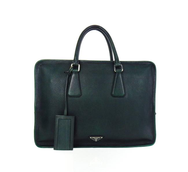 Item - Business Tote Green Leather Laptop Bag
