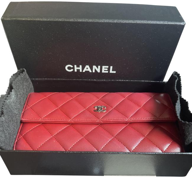 Item - Red Long Quilted Lambskin Wallet