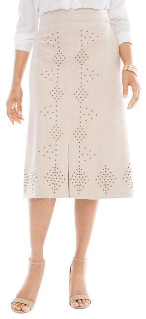 Item - Beige Tan Cream Faux Suede Embellished A-line 0 Skirt Size 0 (XS, 25)