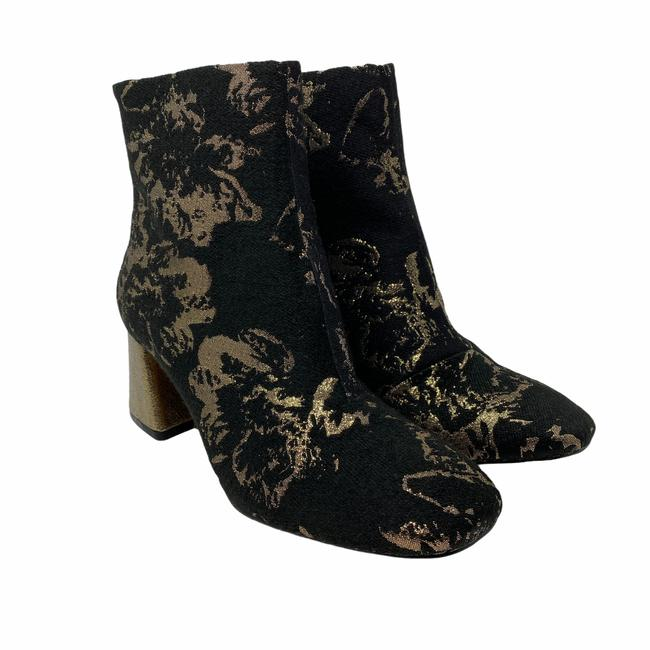 Item - Black Womens Rose Brocade Ankle Gold Floral Boots/Booties Size US 7 Regular (M, B)