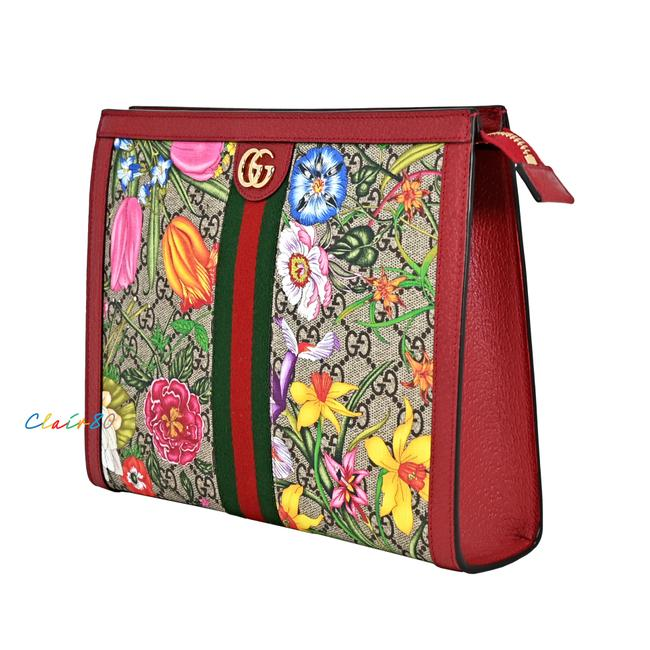 Item - Ophidia Floral Canvas Large Pouch Multicolor Gg Supreme & Leather Clutch