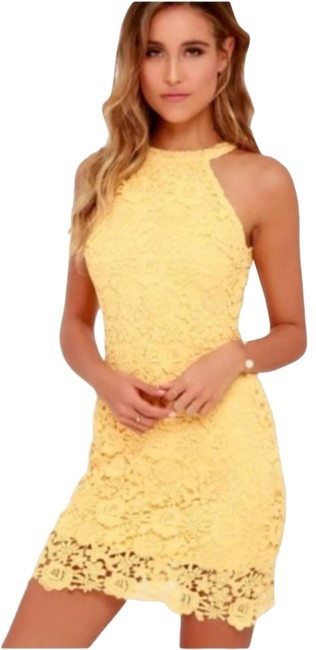 Item - Yellow Love Poem Lace Mini Extra Small Cocktail Dress Size 2 (XS)