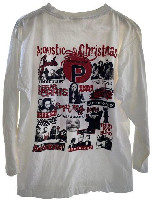 Item - White Almost Acoustic Xmas Ls Tee Shirt Size 10 (M)