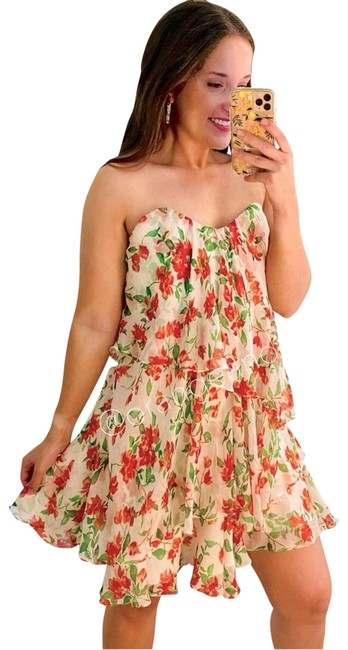 Item - White New Cleopatra Floral Night Out Dress Size 4 (S)