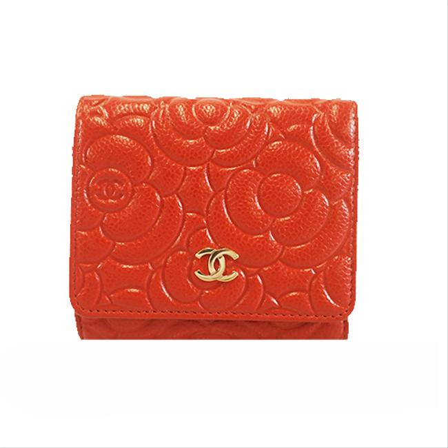 Item - Red Color Camellia Women's Caviar Leather (Tri-fold) Wallet