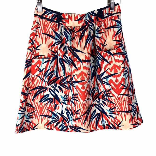 Item - Red XS Basic Blue Floral Ikat Palm Tropical Extra Small Skirt Size 0 (XS, 25)