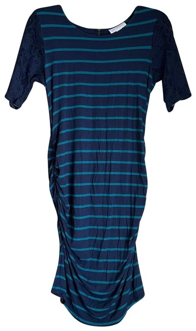 Item - Blue Maternity Striped Ruched Large Mid-length Short Casual Dress Size 14 (L)