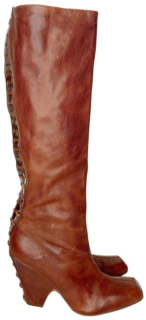 Item - Brown Pebbled Leather Square Toe Knee High Boots/Booties Size US 8 Regular (M, B)