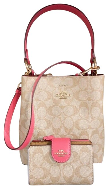 Item - Bucket Small Town Purse and Wallet Light Khaki/Confetti Pink Leather Shoulder Bag