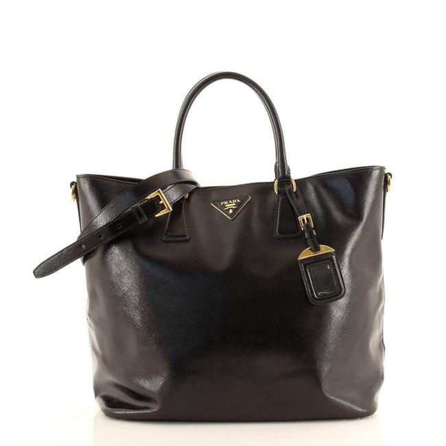 Item - Open Convertible Vernice Saffiano Large Black Patent Leather Tote