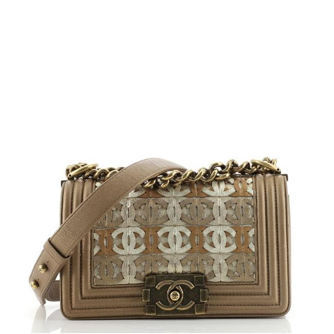 Item - Classic Flap Boy Woven Small Brown Gold Metallic Leather Cross Body Bag