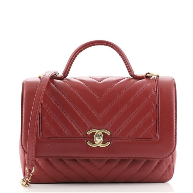 Item - Classic Flap Top Handle Chevron Calfskin Small Red Leather Cross Body Bag