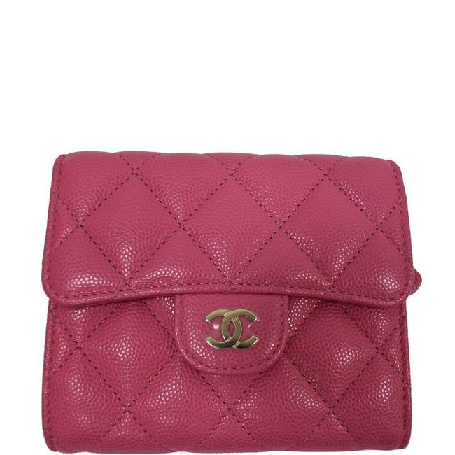Item - Pink Cc Card Holder Caviar Quilted Leather Flap Wallet