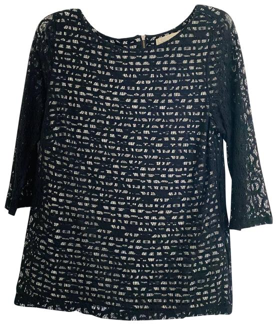 Item - Black Lace 3/4 Sleeve with Striped Underlay Blouse Size 10 (M)