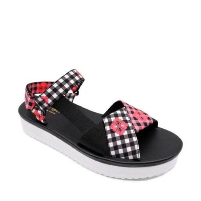 Item - Black/White/Pink/Red Dotty Houndstooth Ankle Strap 9 9.5 M Sandals Size EU 40 (Approx. US 10) Regular (M, B)