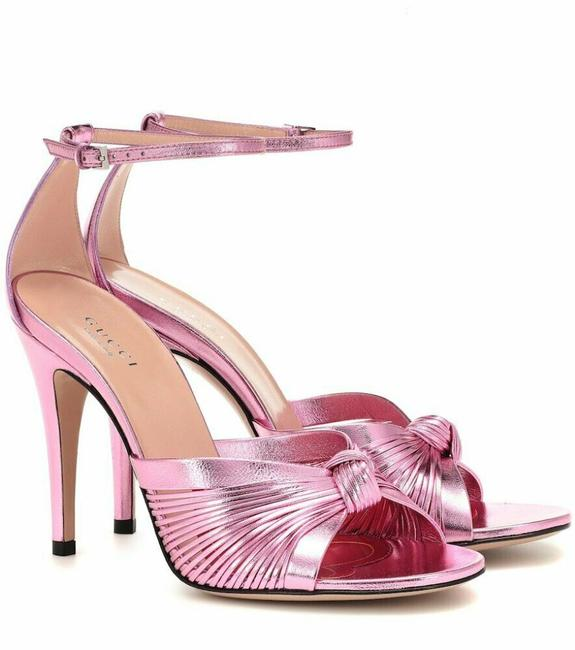 Item - Pink Crawford Metallic Leather Ankle Strap Knot Sandals Size EU 37.5 (Approx. US 7.5) Regular (M, B)