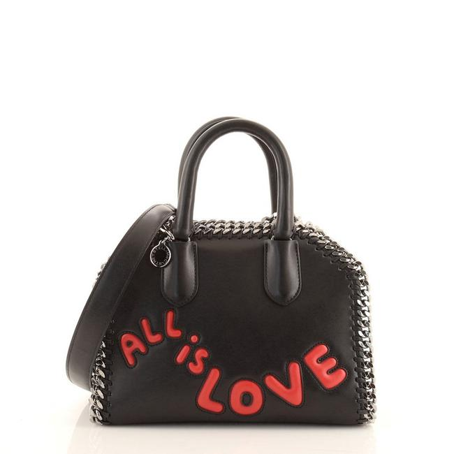 Item - Top Handle Box Falabella Embroidered Mini Black Faux Leather Cross Body Bag