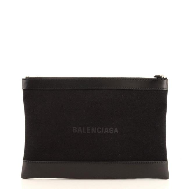 Item - Navy Zip Pouch and Large Black Canvas Plain Leather Clutch