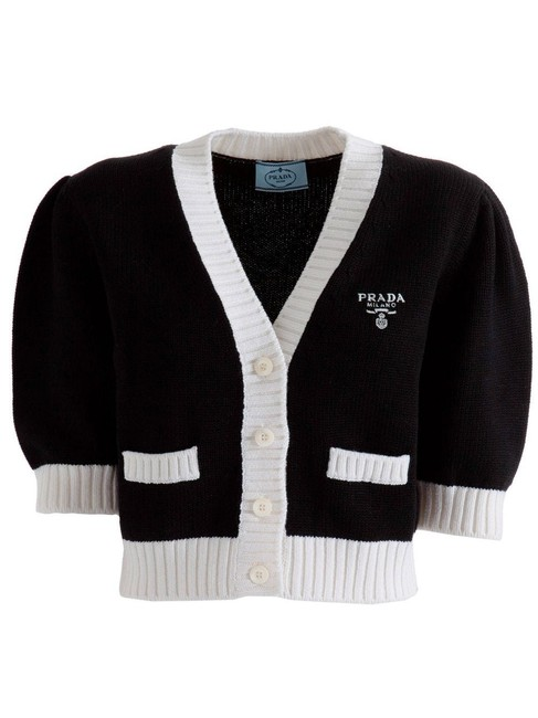 Item - Black and White With Intarsia Logo Cardigan Size 6 (S)