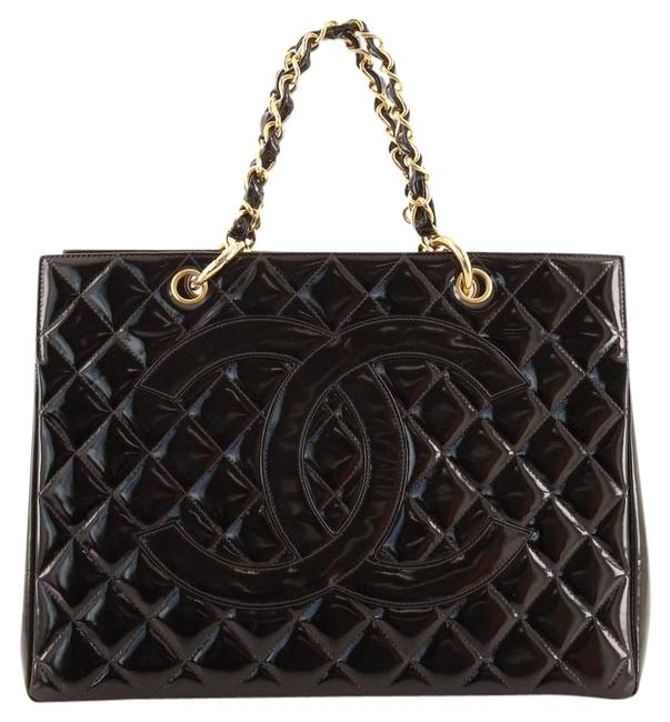 Item - Shopping Vintage Grand Quilted Black Patent Leather Tote