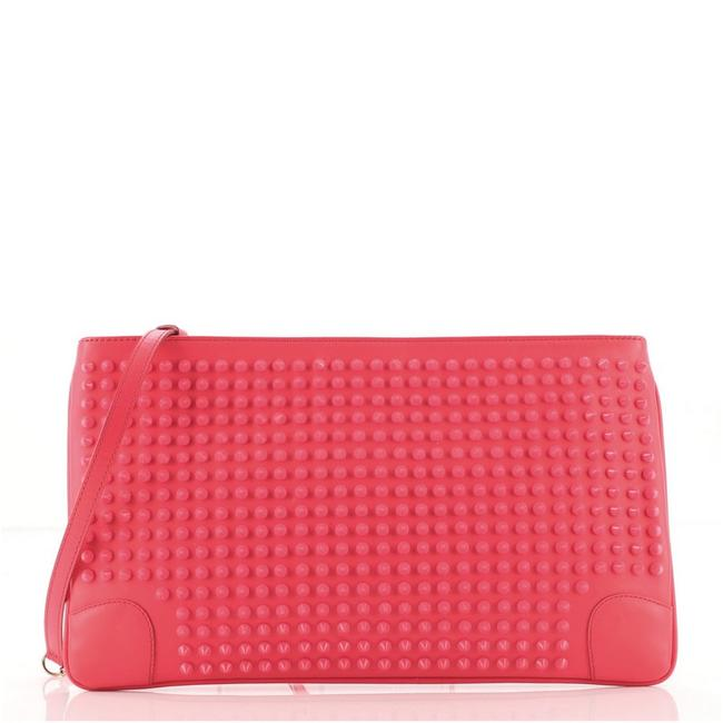 Item - Loubiposh Spiked Patent Pink Leather Clutch