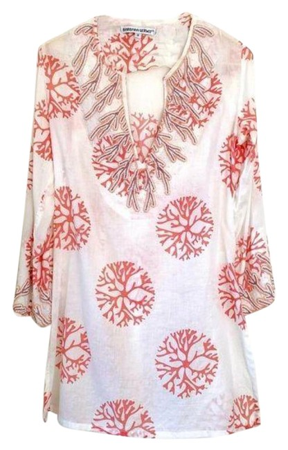 Item - White Cotton Coral Print Cover-up/Tunic S Cover-up/Sarong Size 4 (S)