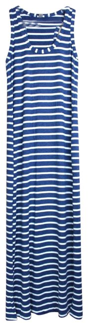 Item - Blue White   & Racerback Striped with Slits Long Casual Maxi Dress Size 00 (XXS)