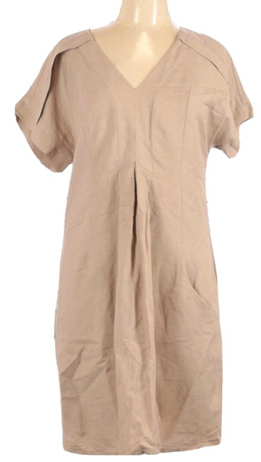 """Item - Tan Shift V Neck """"excellent"""". 55% Ramie 45% Rayon 40"""" Chest 40"""" Length Mid-length Short Casual Dress Size 10 (M)"""
