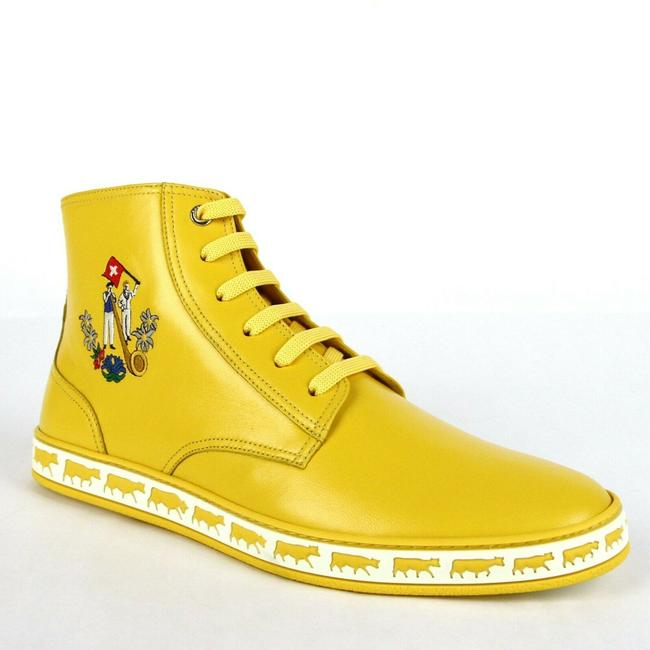 Item - Giallo Yellow Leather Hi-top Sneakers Animal Collection Us 8/Eu Shoes