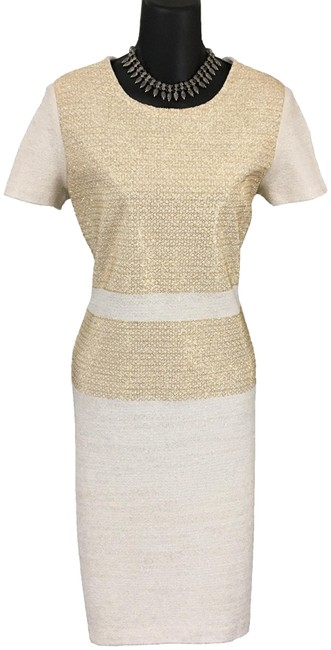 Item - Ivory Gold Evening Knit Shimmer New Mid-length Formal Dress Size 4 (S)