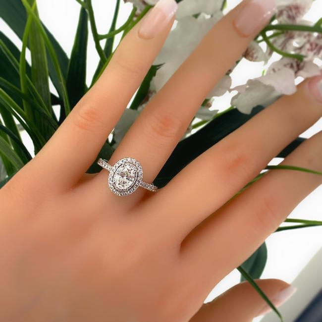 Item - White Gold Love Oval Diamond 1 5/8 Tcw Frame Halo 14kt Engagement Ring