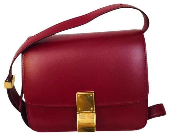 Item - Classic Box Flap Calfskin Small Red Leather Shoulder Bag