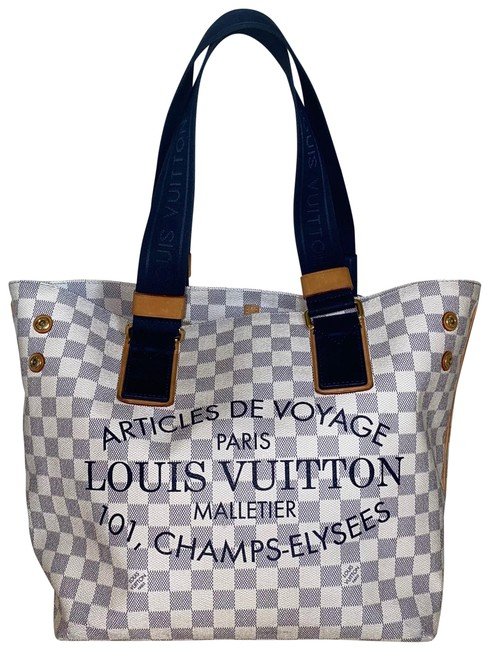 Item - Neverfull Cabas Articles De Voyage Mm Damier Azur Beach Cruise White Coated Canvas Tote