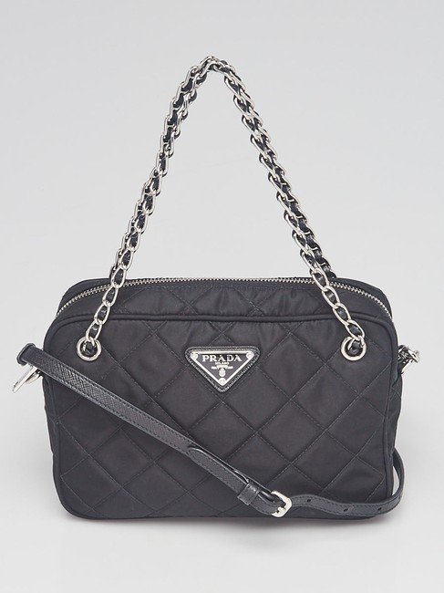 Item - Crossbody Quilted Tessuto Saffiano Leather Small Black Nylon Shoulder Bag