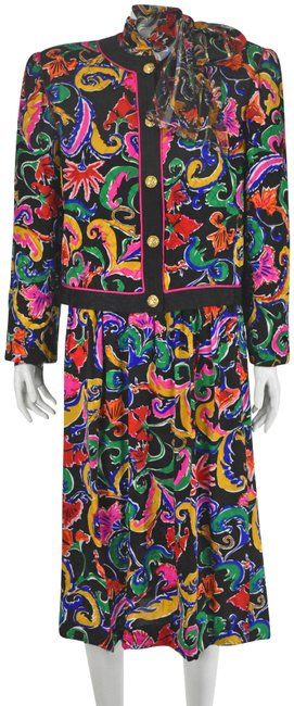 Item - Multi Colored Quilted Silk Jacket and Blouse 3 Piece Skirt Suit Size 14 (L)