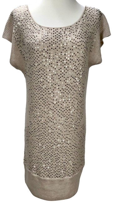 Item - Tan New Sequin Silk Blend Almost Sleeveless Short Night Out Dress Size 10 (M)