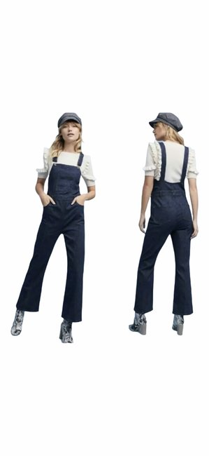 Item - Pilcro and The Letterpress Blue Dark Rinse Anthropologie Overalls Straight Leg Jeans Size 26 (2, XS)