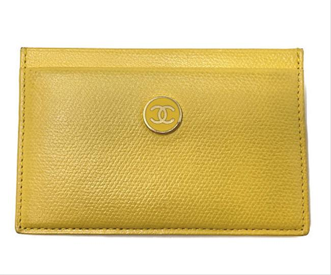 Item - Yellow Coco Button Leather Card Case Wallet