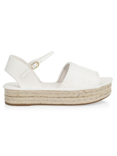 Item - White Ff-embossed Leather Espadrille Sandals Wedges Size EU 41.5 (Approx. US 11.5) Regular (M, B)