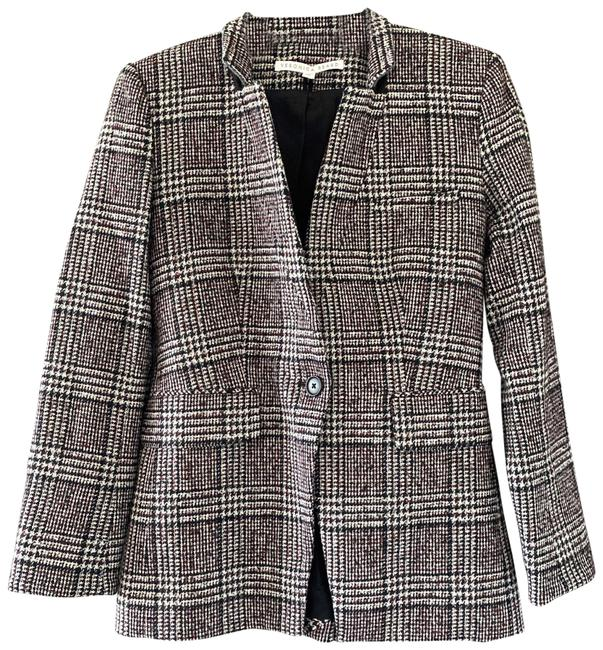 Item - Blue and Red Wool Blend Handstooth Jacket Blazer Size 0 (XS)