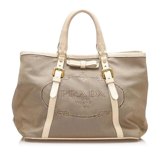 Item - Canapa Logo Canvas Brown Leather Satchel