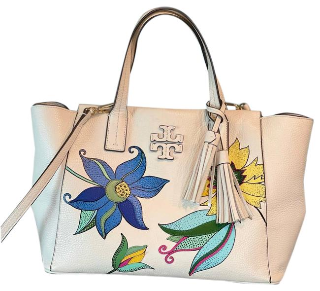 Item - Thea Floral Applique Slouchy Ivory Exclusive Cream Leather Satchel