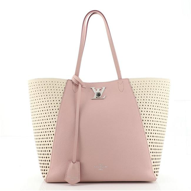Item - Lockme Cabas Perforated Pink Leather Tote
