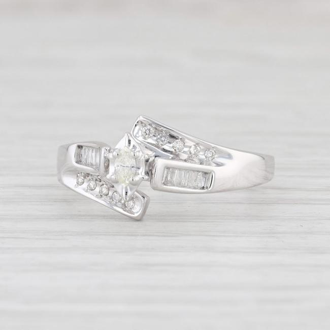 Item - White Gold Diamond 10k Size 8.5 Bypass Marquise Engagement Ring