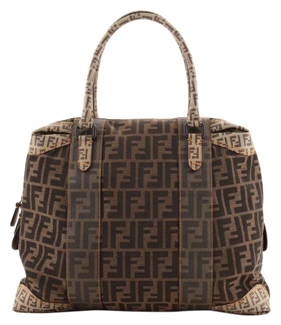 Item - B Mix Zucca Mixed Media Large Brown Canvas Coated Canvas Plain Tote