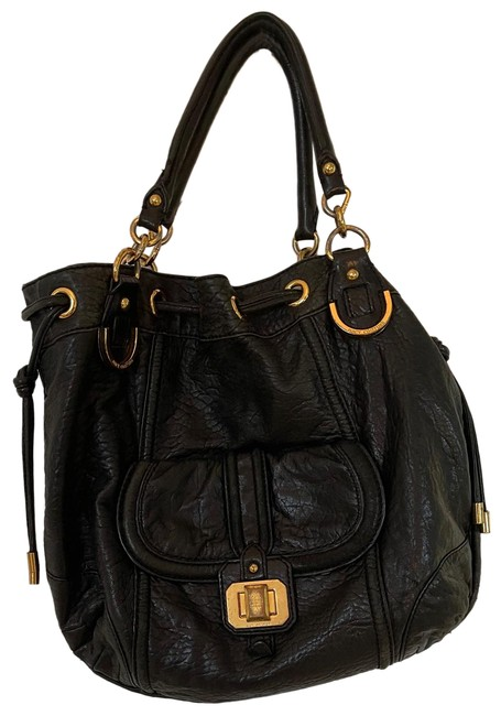 Item - Monaco Black and Gold Faux Leather Hobo Bag