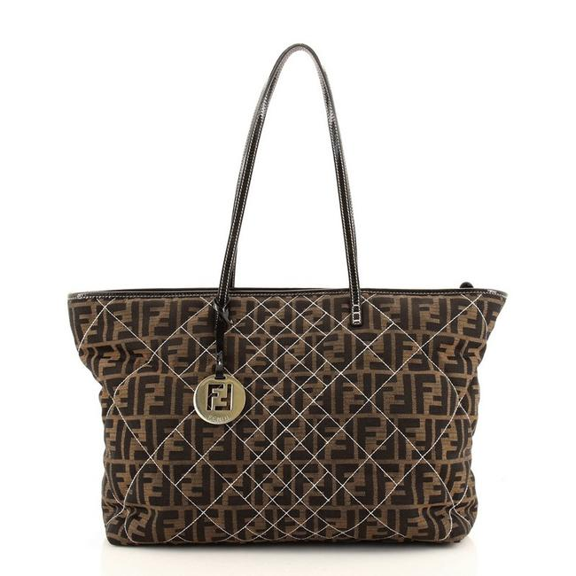 Item - Roll Quilted Zucca Large Brown Canvas (Plain) Tote