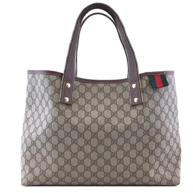Item - Tote #42960 Gg Supreme Signature Web Loop Brown Red Green Coated Canvas and Leather Shoulder Bag