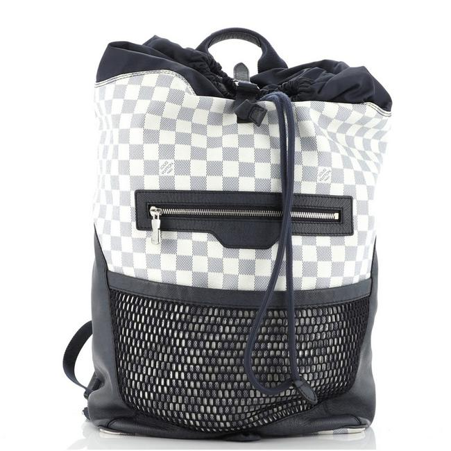 Item - Matchpoint Damier Coastline Blue Multicolor White Canvas (Coated) Leather Backpack