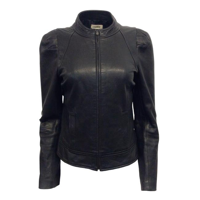 Item - Black Leather Puff Sleeve Zip Front Jacket Size 4 (S)